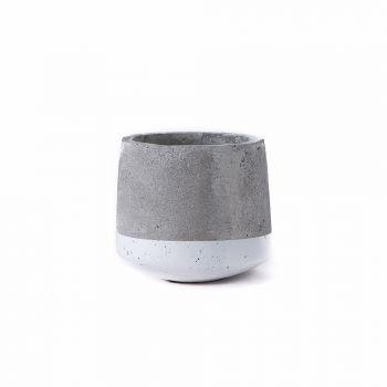Small Concrete Pot - White