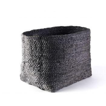 Large Square Jute Basket- Charcoal