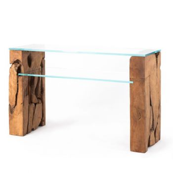 Glass Console Table with Teak Root Base