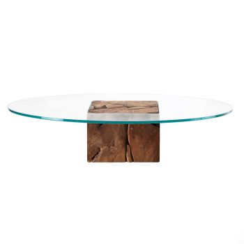 Teak Root Round Glass Coffee Table