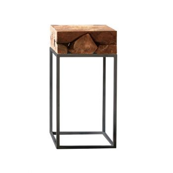 Teak Root Side Table with Charcoal Metal Frame
