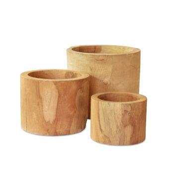 Teak Pots (Set of 3)