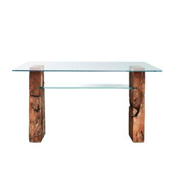 Teak Root Glass Desk