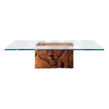 Teak Root Glass Coffee Table