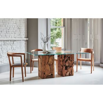 Teak Root Glass Dining Table