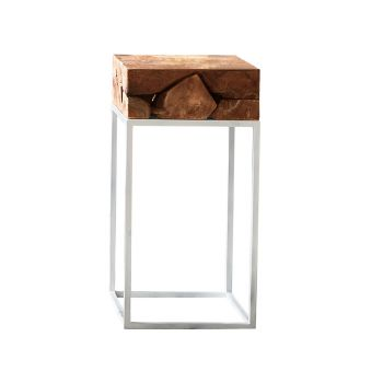Teak Root Side Table with White Metal Frame