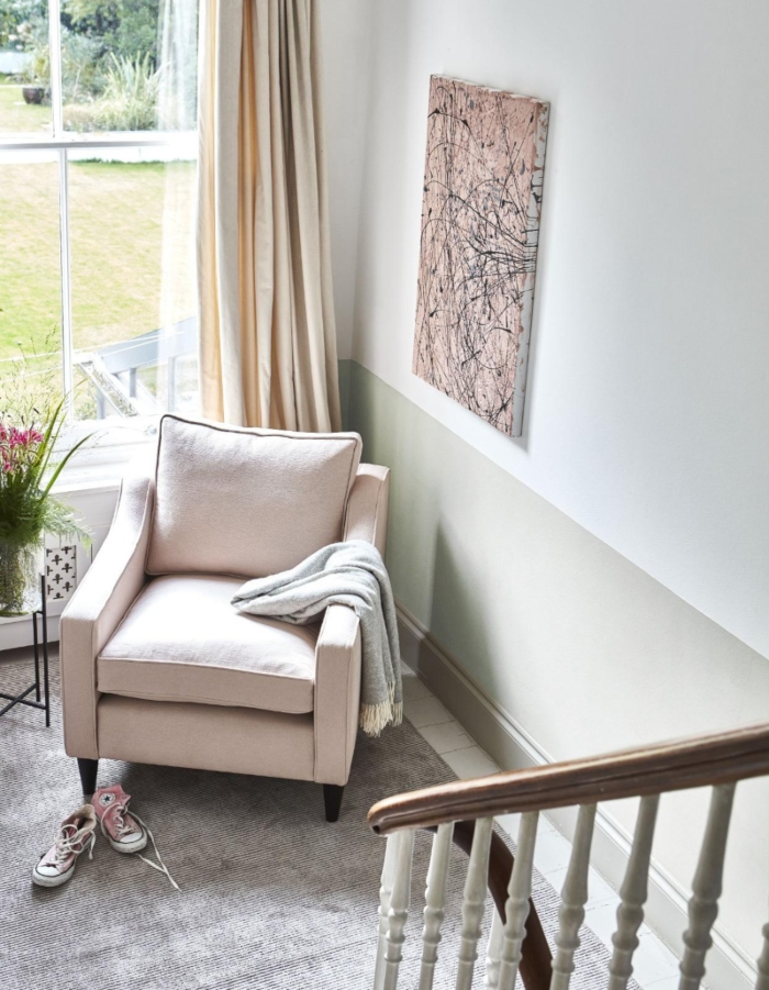 Pastel pink chair two toned wall (1)