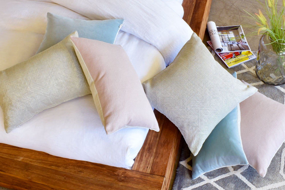 Seasonal pastel feature cushions