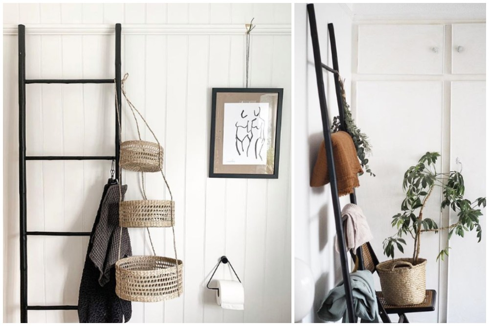 Bamboo ladder with plants and baskets