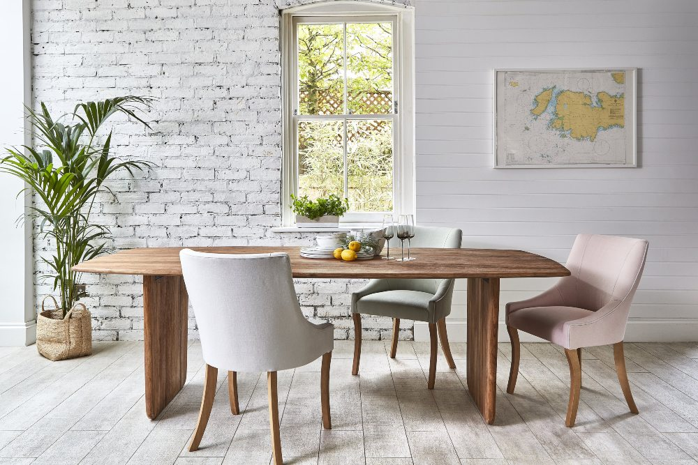 how to add colour to your home Neve dining table with pastel chairs