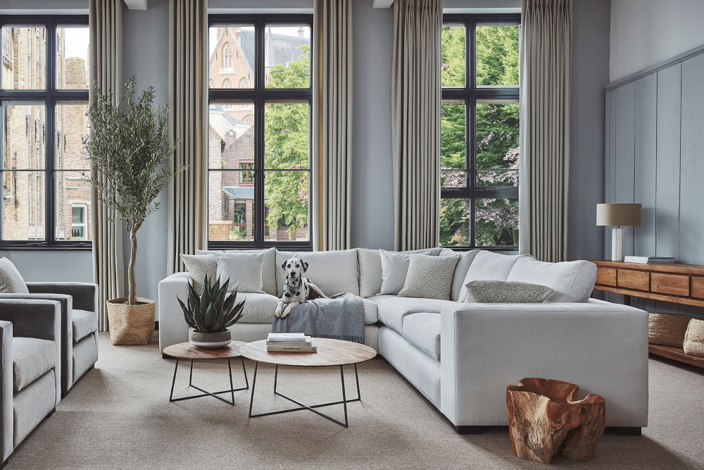 7 best sofas for 2021 Raft Furniture Melrose corner unit with Bruno the dalmatian