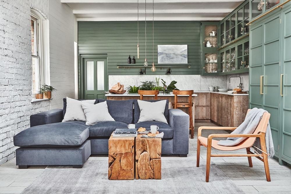 Manhattan Sofa, Teak Root Tables, Sling Chair