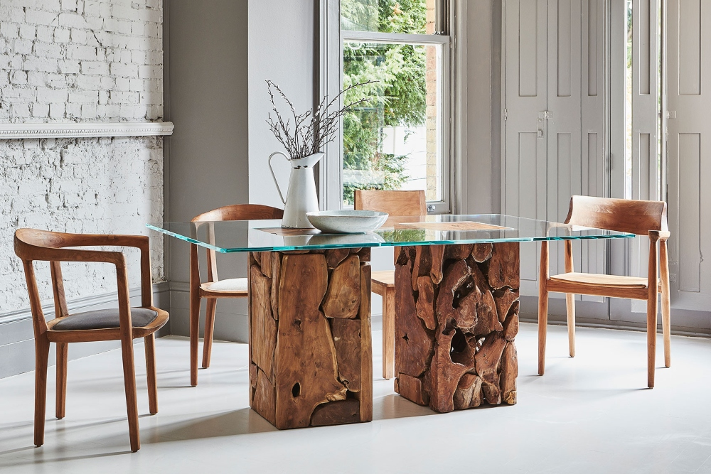 teak root dining table with glass top raft furniture