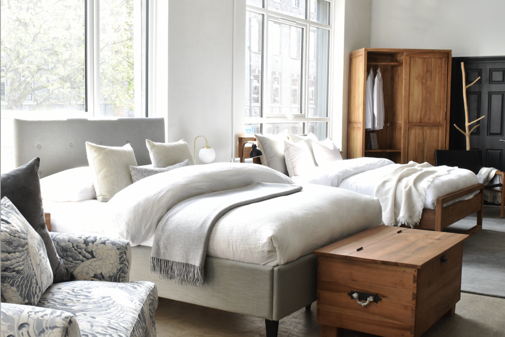 A photo of Raft's North London store showing our exclusive bedroom collection
