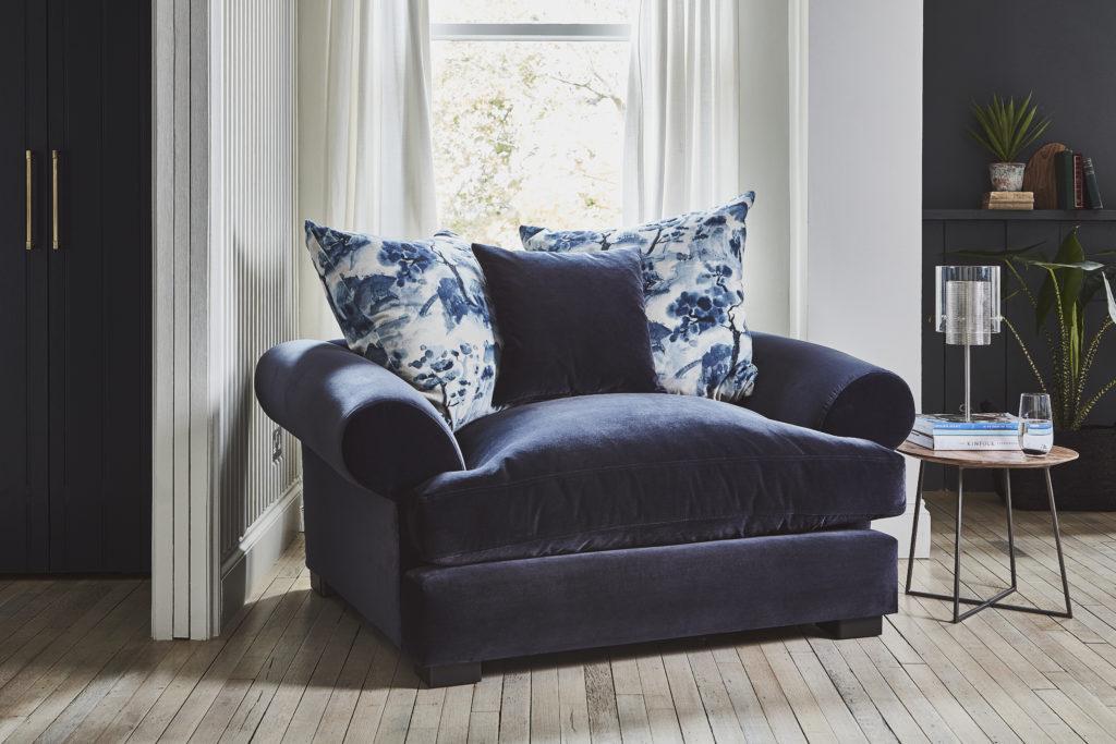 stain resistant velvet sofa fabric on Lincoln loveseat